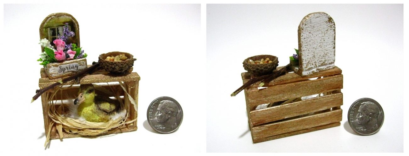 Miniature Duckling wood crate with Miniature flower box