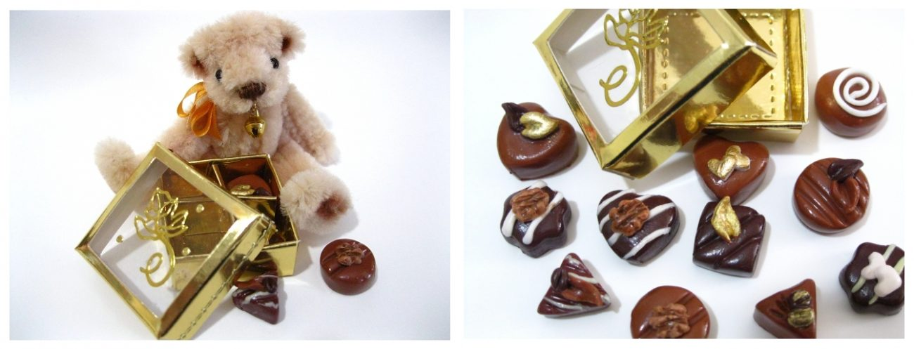 Miniature bear and chocolates in a gold foil box
