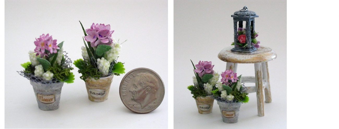 Miniature 1/12 scale Dollhouse Flowers in Pots and Lantern with Flower arrangement