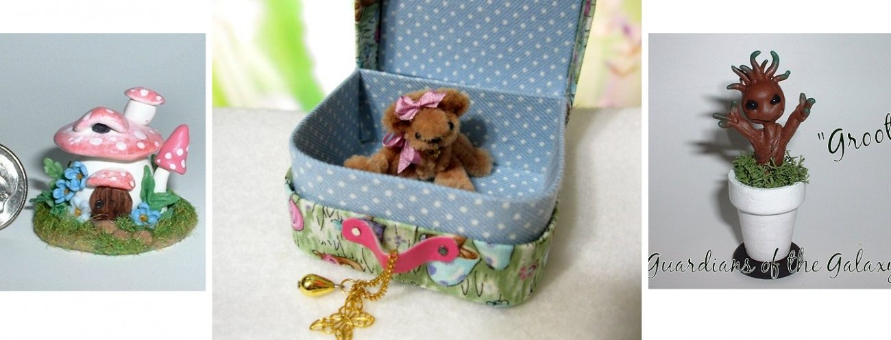 Miniature Mushroom house baby Groot and Miniature luggage with teddy